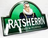 Ratsherrn Bier, Werbeschild, Blechschild, grün gewölbt