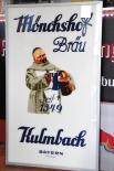 Kulmbacher Mönchshof Bräu, 60er Jahre Werbeschild Glas Metallrahmen groß, sehr rar