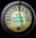 Ratsherrn Bier Brauerei, Fassboden Schild, Werbeschild aus Kunststoff