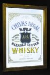 Chivas Regal, Whisky, Werbespiegel in Echtholzrahmen braun Blended Scotch
