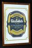Glenfiddich, Whisky, Werbespiegel in Echtholzrahmen braun Pure Malt