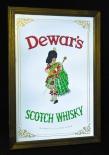 Deware`s, Whisky, Werbespiegel in Echtholzrahmen braun Scotch Whisky