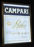 Campari, Likör, Werbespiegel in Echtholzrahmen braun Campari Bitter blau