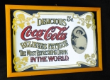 Coca Cola, Werbespiegel in Echtholzrahmen braun Relieves Fatigue