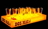 Dos Mas, LED Shotglasträger, Leuchtreklame, dimmbar, orange, mit 12 Gläsern