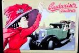 Budweiser Bier, Blechschild, Werbeblechschild rote Frau Oldtimer