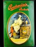 Budweiser Bier, Blechschild, Werbeblechschild Frau an Theke