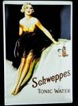 Schweppes, Blechschild, Werbeblechschild Tonic Water