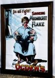 Ogden´s Cigarettes Werbespiegel in Echtholzrahmen, braun Smoking Midnight Flake