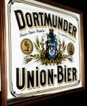 Dortmunder Union, Bier, Werbespiegel in Echtholzrahmen braun DUB