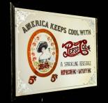 Pepsi Cola, Werbespiegel in Echtholzrahmen dunkelbraun America Keeps