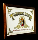 Tuborg Bier, Werbespiegel im Holzrahmen braun, Brewed from the finest..