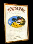 Southern Comfort, Werbespiegel in Echtholzrahmen braun The grand old..,Vintage