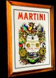 Martini, Werbespiegel in Echtholzrahmen hellbraun Vermouth Vino