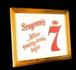 Seagrams Gin, Werbespiegel in Echtholzrahmen braun Seagram´s