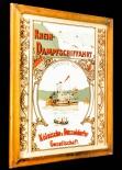 Köllner Werbespiegel im Holzrahmen braun, Rhein Dampschiffahrt
