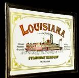 USA Barspiegel, Werbespiegel in Echtholzrahmen braun Louisiana