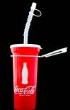 Coca Cola, USA, Trinkbecher mit Deckel, Gürtelclip und Halm