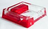 JPS, John Player Special, Glas Kristall Aschenbecher, rot tranparent, Quadrat.