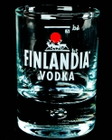 Finlandia Vodka, Shotglas, Stamper, Perle im Boden, Emblem Elch