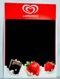 Langnese Eis, Kreidetafel, Schreibtafel aus Metall, Schoko Erdbeeren
