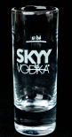 Skyy Vodka, Shotglas, Stamper 2cl, 4cl thermoaktives Farbspiel, kalt-blau