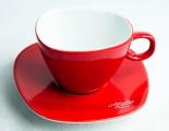 Alfredo Kaffee, Cappuccino-Tasse mit Untertasse rot Walküre
