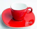 Alfredo Kaffee, Espresso-Tasse mit Untertasse rot Walküre