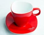 Alfredo Kaffee, Kaffee-Tasse mit Untertasse rot Walküre
