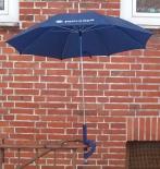 Paulaner Biergartenschirm, Regenschirm / Sonnenschirm mit Befestigung