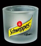 Schweppes, Glas Windlicht, weiß satinierte Ausführung