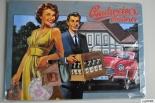 Budweiser Bier, Blechschild, Werbeschild Mann / Frau Kiste
