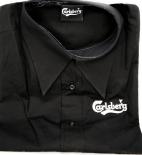 Carlsberg Bier, Herren Kellner Hemd, schwarz, gesticktes Logo, Größe XL