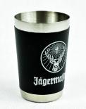 Jägermeister Likör, Edelstahl Shotglas mit Lederumrandung, weiß