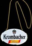 Krombacher Bier, Weizen, Emaile Zapfhahnschild mit Goldkette