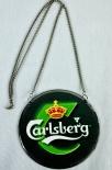Carlsberg Bier, Emaile Zapfhahnschild Grün Krone gelb mit Kette
