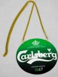 Carlsberg Bier, Emaile Zapfhahnschild Grün Krone weiß mit Kette