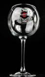 Martini Wermut, Ballonglas, Cocktail Glas, Schrift und Emblem weiß