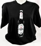 Becks Bier, T-Shirt Women, schwarz, Gr. S, V-Ausschnitt, Ice Flasche