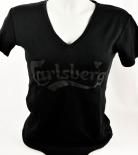 Carlsberg Bier, T-Shirt Women, schwarz, Gr. S, V-Ausschnitt, CARLSBERG