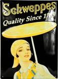 Schweppes Lemon, Blechschild, Werbeblechschild, gewöllbt Quality Since 1783