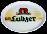 Lübzer Bier, Serviertablett, Rundtablett, weiße Ausführung, Rutschfest