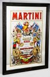 Martini Werbespiegel, Barspiegel, Spiegel in Holzrahmen, Rosso