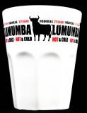 Osborne Veterano Brandy, Glas, Keramik Becher weiß, Lumumba Hot Veterano rot