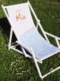 Freixenet Mia, Buchenholz Liegestuhl, weiße Ausführung mit Armlehnen Mia