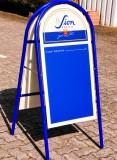 Sion Kölsch, Kundenstopper, Werbeaufsteller Vollmetall, blau/Weiß