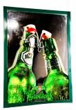 Grolsch Bier, Werbespiegel in Echtholzrahmen grün Flaschenpaar