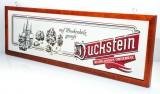Duckstein Werbeschild, Emaille Schild, Reklame in Mahaghoni Holzrahmen