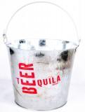 Desperados, Eiswürfeleimer, Flaschenkühler, verzinkt, rotes Logo, Vintage Style