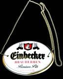 Einbecker Dunkel Pils, Keramik Zapfhahnschild mit Goldkette